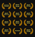 film awards gold labels set on black background vector image