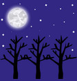 full moon night forest vector image