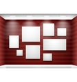 Gallery empty frames on red wall with lighting vector image vector image