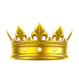 golden isolated headdress or crown for king queen vector image vector image