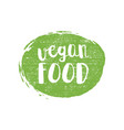green grunge vegan food hand drawn logotype vector image