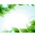 Green leaves on a blue background vector image vector image