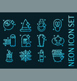 halloween icons blue glowing neon style vector image