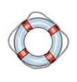 hand drawn sketch lifebuoy in red and blue vector image