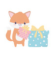 happy birthday fox with gifts celebration vector image vector image