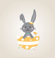 happy easter day with black easter rabbit vector image vector image