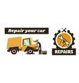 horizontal banner template on car repairs repair vector image vector image