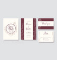 invitation card save date thank you rsvp vector image vector image