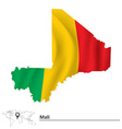 Map of Mali with flag vector image vector image