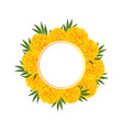 marigold flower - tagetes banner wreath vector image vector image