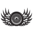 monochrome pattern with wheel wings and pistons vector image