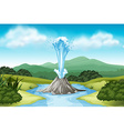 Nature scene with hot spring and field vector image vector image