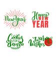 new year happy holidays warm wishes santa cookies vector image vector image