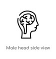 outline male head side view with brains icon vector image vector image