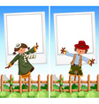 Paper template with scarecrows in background vector image vector image