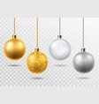 realistic christmas tree toys golden with glitter vector image