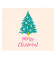 retro card with christmas tree vector image