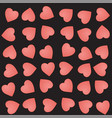 seamless pattern with cute pink hearts on a black vector image vector image