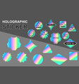 set holographic stickers on grey background vector image vector image