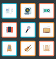 set of audio icons flat style symbols with violin vector image