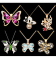set of butterfly pendants with precious stones vector image vector image