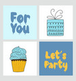 set of handwritten cards with cute vector image