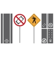 set shows road traffic pedestrian signs vector image