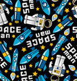space man and rockets in space seamless pattern vector image vector image