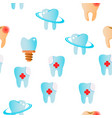 tooth icon seamless pattern vector image vector image