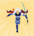 warrior attacks asian cartoon style vector image vector image