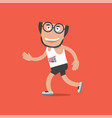 running man on red background vector image