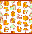 autumn seamless pattern with thin line icons vector image vector image