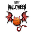 basketball ball with horns wings and devil tail vector image vector image