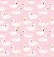 beautiful seamless pattern with swans in crowns vector image vector image
