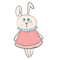 big eared hare wearing a cute pink dress designed vector image vector image