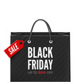 black friday offer bag with red tag sale and text vector image vector image