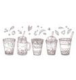 bubble tea sketch summer drink flavored teas vector image vector image