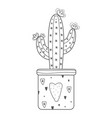 cactus doodle style black color isolated vector image
