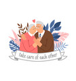 caring elderly couple vector image vector image