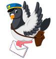 cartoon funny pigeon bird delivering letter vector image
