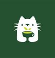 cat tree drink cup negative space logo icon vector image vector image