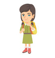 Caucasian little girl with school bag thinking vector image