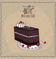 chocolate coffee cake with biscuit on lacy napkin vector image vector image