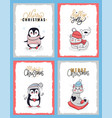 christmas cards with animals in winter clothes vector image vector image