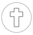 church cross icon black color in circle vector image vector image