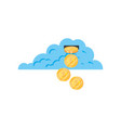 cloud computing with coins money vector image vector image
