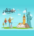 concept with world sights and vector image vector image