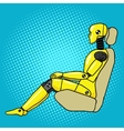 Crash test dummy pop art style vector image vector image