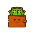 cute smiling happy money wallet vector image