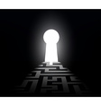 dark labyrinth with exit to the keyhole vector image vector image